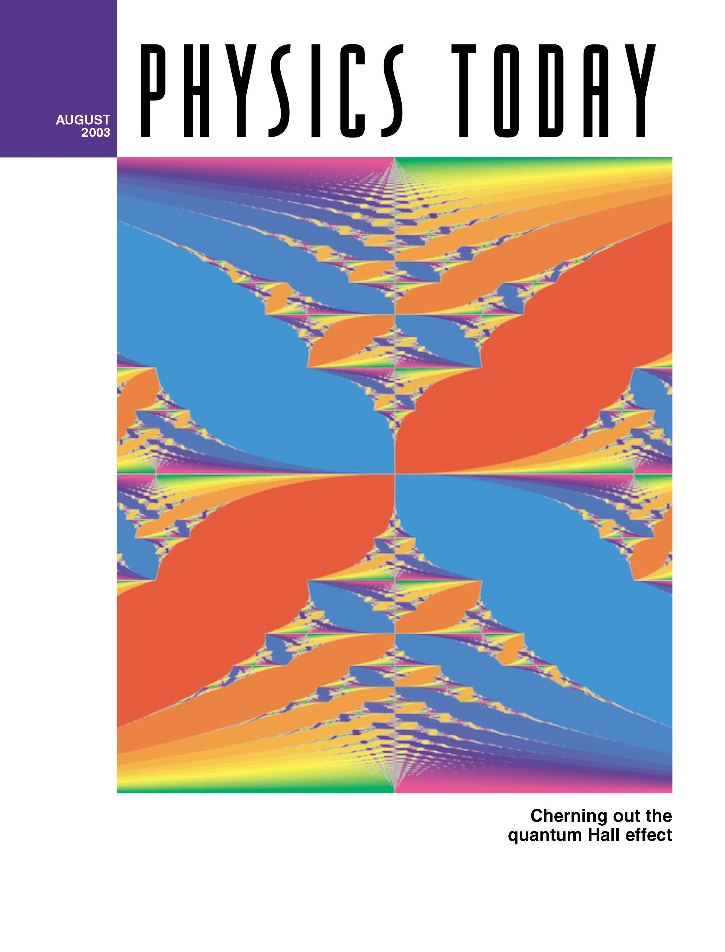 the Colored Hofstadter Butterfly on Physics Today magazine cover, open the article 'A topological look at the Quantum Hall effect' on the magazine website