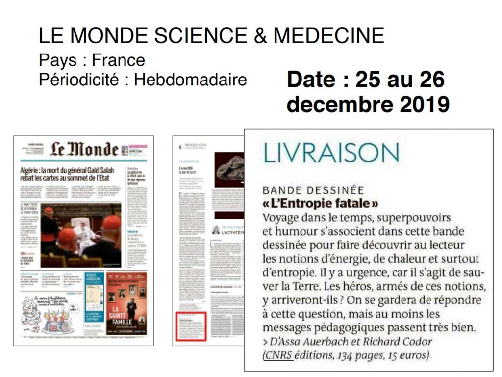 Le monde science & medecine review 25-26/12/2019