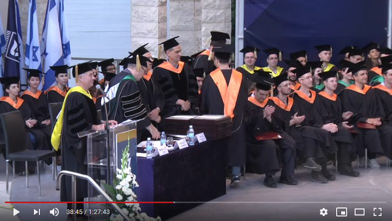 וידאו של טקס הענקת תואר דוקטור לפילוסופיה בטכניון 30 מאי, 2016. נפתח ב youtube